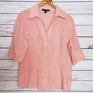 Lafayette 148 Pin Tucked Linen Top Heathered Coral